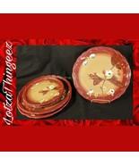"VGUC The Henna Collection ""Tracy"" 3 Dinner Plates/2 Salad Plates Burgand... - $35.63"