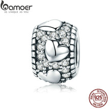 BAMOER Trendy Genuine 925 Sterling Silver Dazzling CZ Heart Shape Charm ... - $23.31+