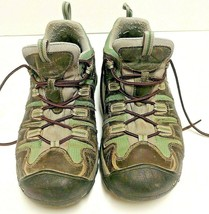 Women's Keen Hiking Boots Green Leather Upper Size 11 - $36.47