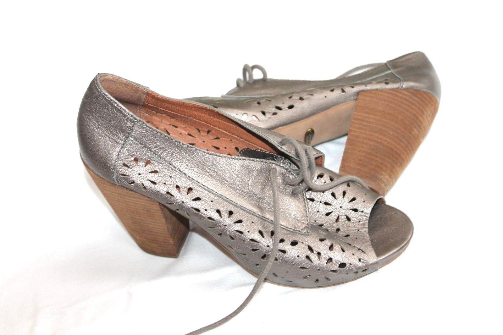 Lucky Brand Peony Metallic Powder Peep Toe Heel Shoes Size 8.5 38.5 - $39.60