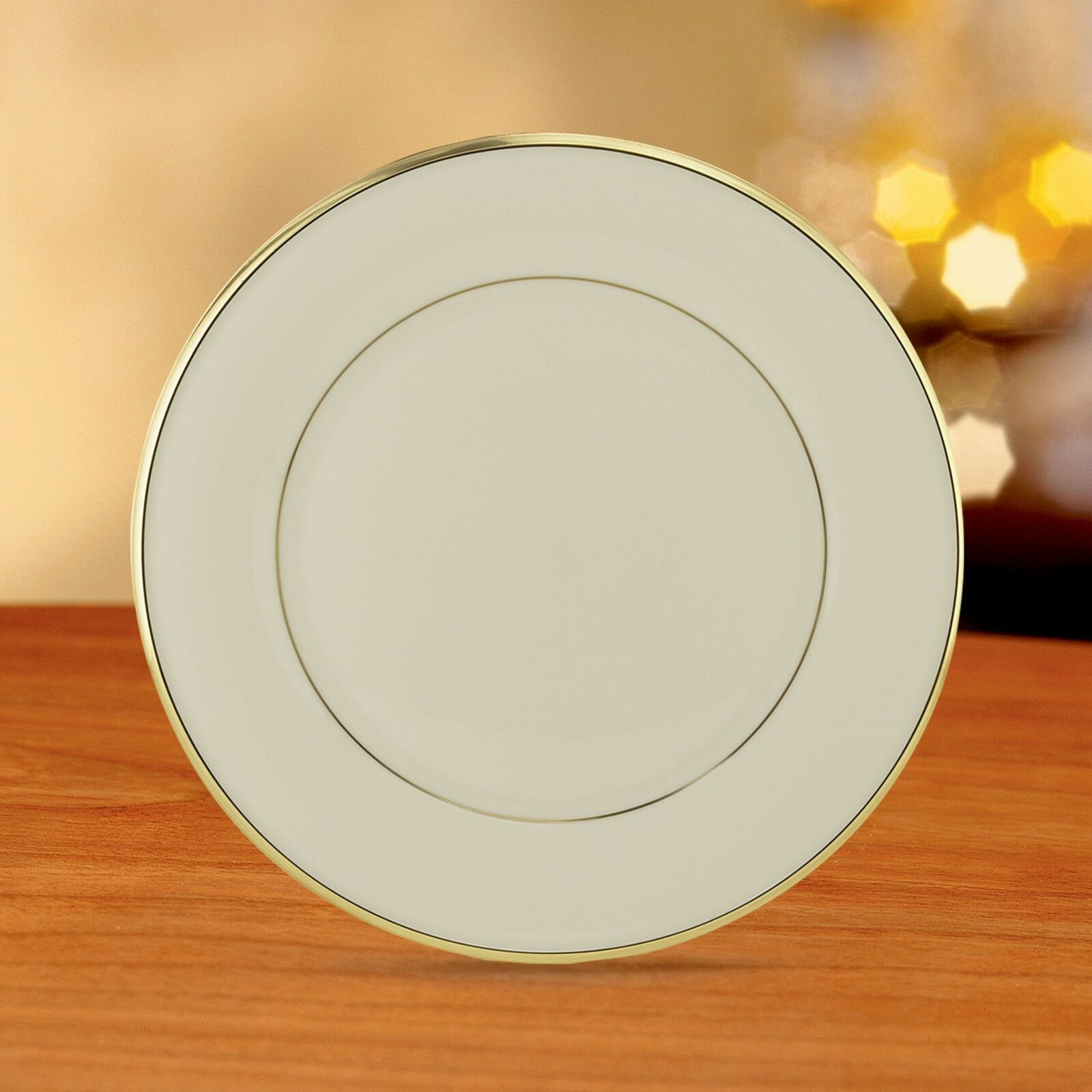 Lenox Eternal Gold Banded Ivory China Dinner Plates   Set of 3