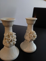 Vintage Candlestick Holders Genuine White Jade Porcelain Bisque Rose China image 1