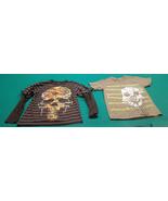 2 boys skull t shirts tops green gray black stripes size 8 small clothes... - $4.99