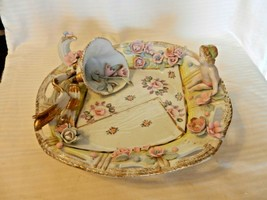 Capodimonte Baby Shower Centerpiece Bowl With Cherub, Roses, Cornucopia - $148.50