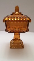 Jeannette Glass Amber Flashed Tall Candy Dish/Wedding Box with Lid - $15.00