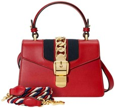 NWT Gucci Sylvie mini red leather shoulder bag ; Rtl $2400 - $1,749.99