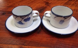 Pair Vtg Dansk Tivoli Belles Fleurs Concerto Allegro Tea Coffee Cups Saucers Set - $29.59