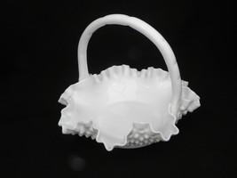 "Vintage Fenton Milk Glass Hobnail Double Crimped Ruffled Edge 6 ½"" Basket - $10.99"