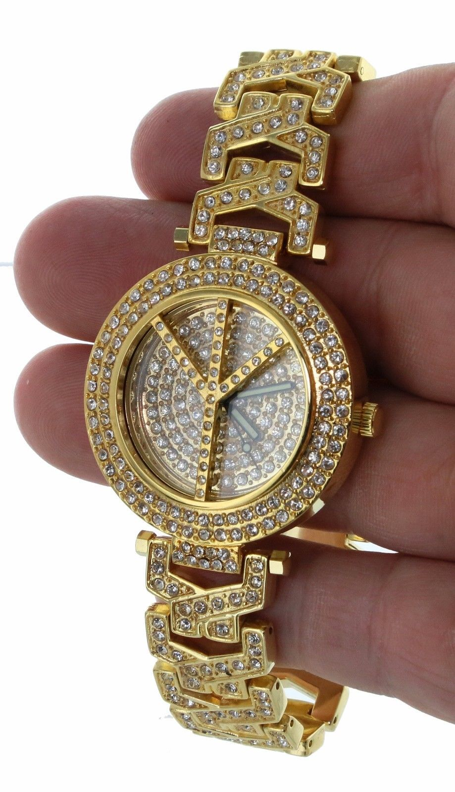 Women Luxury GP Fully Iced Out  Bezel & Band Peace Symbol + Stud Earring