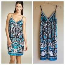$98 ECI 6 S Scarf Print Stretch Silk Charmeuse Babydoll Dress Blue Paisl... - $33.25
