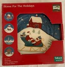 "NEW Set of 4 Warren Kimble Sakura ""Home For The Holidays"" Dessert / Sala... - $29.69"