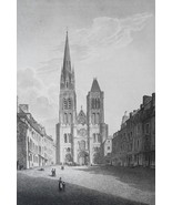 FRANCE St. Denis Main Square & Cathedral - 1821 Antique Print by Cpt. Batty - $21.60