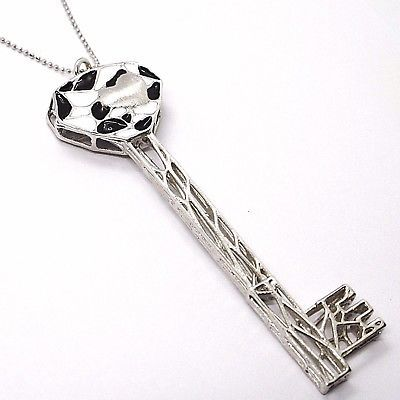 925 STERLING SILVER NECKLACE, BIG WORKED KEY CATHEDRAL BLACK, WHITE ENAMEL HEART
