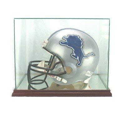 Full Size Football Helmet Glass Display Case with Mahogany Stained Wood Base