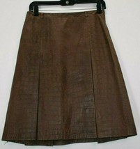 Ann Taylor Loft Women's 2 Leather Pleated Faux Alligator Skin Style Fitted Skirt - $23.99
