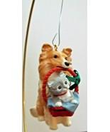 Hallmark Keepsake Ornament 1991 Tramp & Laddie Cat and Collie Dog Christmas - $7.91