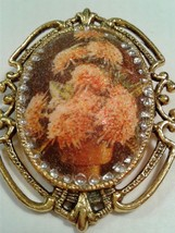 Vintage Ceramic Brooch Cameo Peach Potted Flowers Gold Frame Victorian J... - $17.09