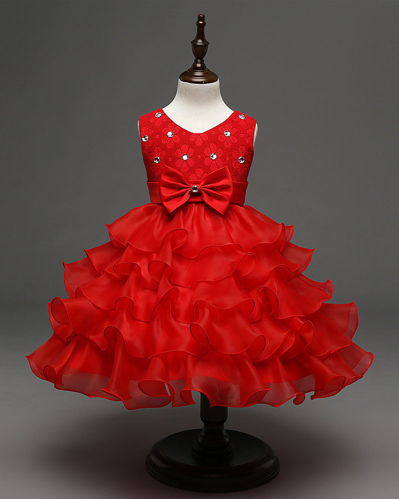 Vintage Red Bow First Communion Dress A Line Flower Girls Dresses Short Gowns