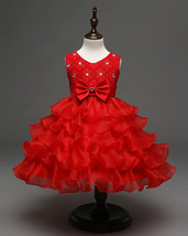 Vintage Red Bow First Communion Dress A Line Flower Girls Dresses Short ... - $33.00