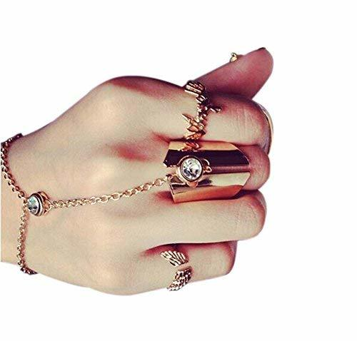 Fashion Personality Bracelet Jewelry Finger Rings And Chains, Simple Golden