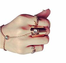 Fashion Personality Bracelet Jewelry Finger Rings And Chains, Simple Golden image 1