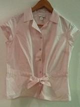 Pink 100% Cotton Tie Waist Short sleeve Shirt by Isaac Mizrahi for Targe... - $8.95