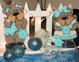 Winter Decor, Bear's Theme Home Accents, Wood Bear's, Tole Painted Bears - $65.99