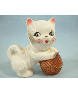 White Kitty Cat Playing with Yarn Figurine Ceramic Kitten Japan Vintage ... - $15.83