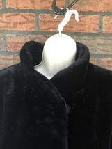 Vintage Black Faux Fur Coat Medium Collar Pockets Teddy Bear Jacket USA ... - $34.30