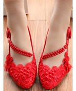 Women Red Pearl Ankle Straps Wedding Shoes,Lace Bridesmaid Shoes US 4,5,... - £30.95 GBP