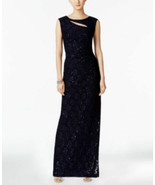 Connected Apparel Women's Cutout Sequined Lace Gown Navy Size 8 - $23.76