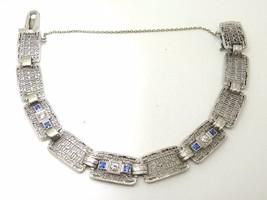 14k Gold Art Deco / Filigree Diamond Bracelet with Synthetic Sapphires (#J3530) - $1,294.98