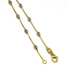 """18K YELLOW WHITE GOLD ROLO ALTERNATE BRACELET 3mm WORKED FACETED OVAL BALLS 7.1"""" image 1"""
