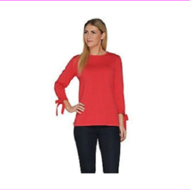 Joan Rivers 3/4 Sleeve Sweater with Side Bows, Poppy, XL - $10.94