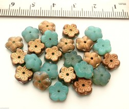 25 8 x 3 mm Flat Flower Beads:Milky Peridot - Apollo Matte - $1.78