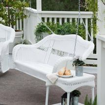 Traditional White Resin Wicker Outdoor Porch Swing Garden Patio Furniture image 3