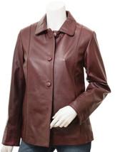 QASTAN Women's New Smart Elegant Burgundy Sheep Leather Jacket QWJ67 - $149.00+