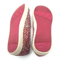 Toms Womens Size 5 Slip On Casual Sneakers Red White Fabric Woven Flats image 9