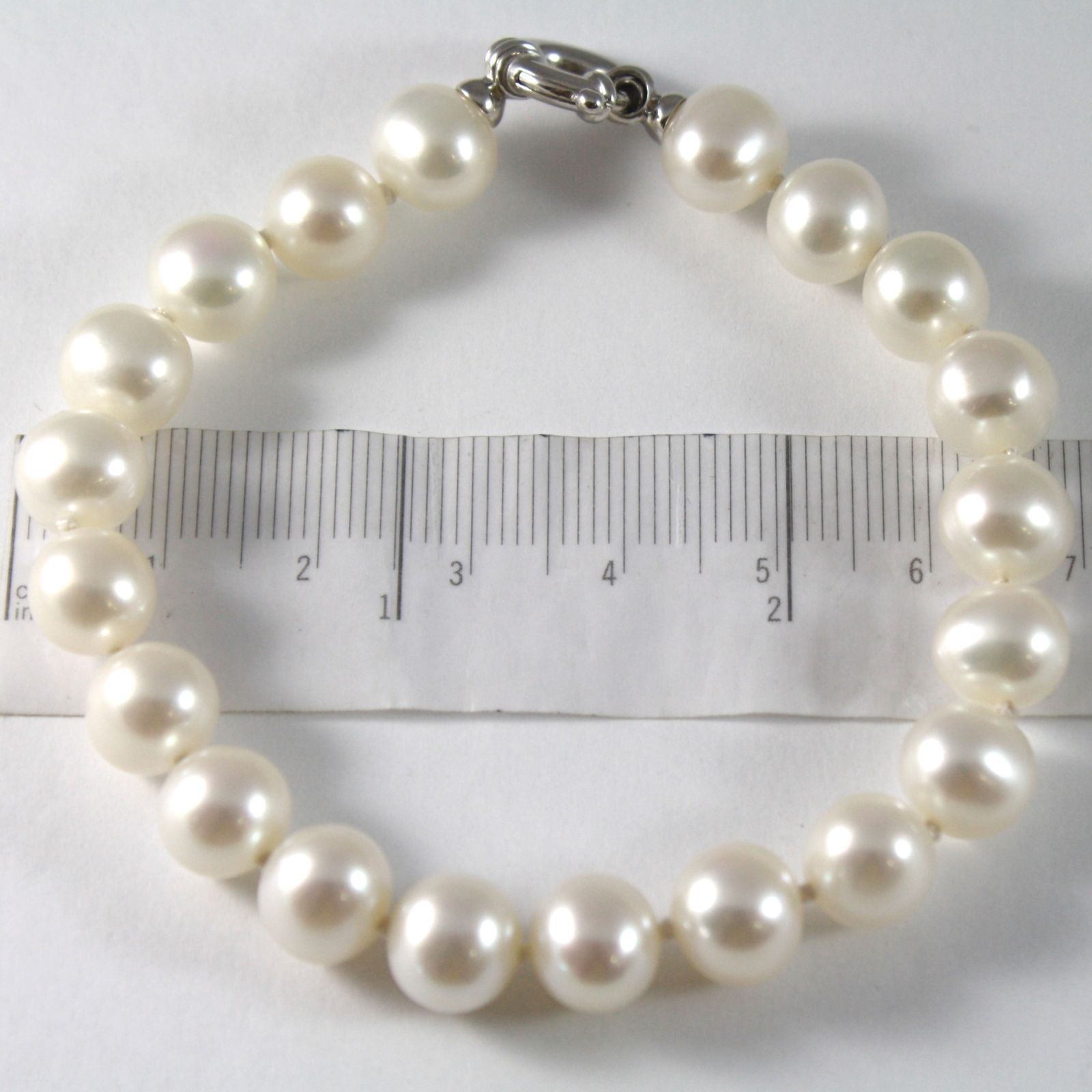 BRACELET OR BLANC 750 18K, FIL PERLES BLANCHES DIAMÈTRE 9 MM, LONG 19 CM