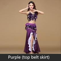9 Colors Professional Belly Dancer Sequin Beaded Outfits Bra Belt Skirt image 3