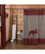 Cumberland Plaid Moose Applique Shower Curtain Log Rustic Bath - $84.95