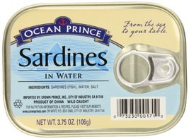 Ocean Prince Sardines in Water, 3.75 Ounce Cans Pack of 12