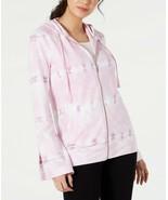 Ideology Tie-Dyed Bell Sleeve Full Zip Hoodie, Pink, M - $28.35
