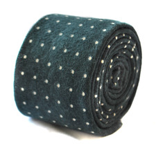 Frederick Thomas skinny black and pin spot velvet style tie FT1905