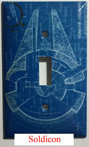 Star Wars Millennium Falcon Blueprint Switch Outlet wall Cover Plate Home Decor