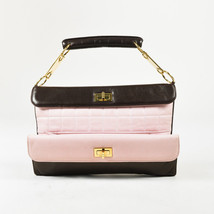 Chanel Pink & Brown Quilted Lambskin Leather Gold Tone 'CC' Bag - $1,105.00