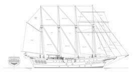 Royal Albatross Tall Ship Profile  * 13 x 19 MATTE B&W Line Drawing Print - $10.95