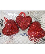 """Valentines Day 3.5"""" Red Heart Sequins Glitter Ornaments Decorations Set ... - $19.99"""