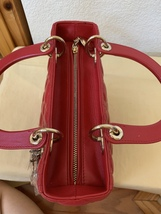 AUTH Christian Dior Lady Dior Medium RED Cannage Lambskin Tote Bag GHW image 10