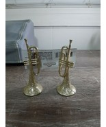 Christmas Ornament Set Of 2 Glittery Gold Trumpet Instruments. - $13.67